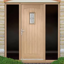 Cottage Oak Exterior Door With Black Leadwork Bevelled Tri Glazing - Hardwood exterior doors and frames