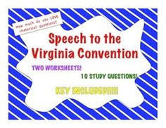 speech to the virginia convention rhetorical question looking for a worksheet that explores patrick henry s rhetorical question usage in his speech to the