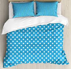 blue duvet cover set retro style pattern with little white polka dots geometrical vintage inspirations decorative bedding set with pillow shams