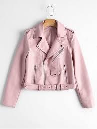 zip up belted faux leather biker jacket light pink l