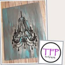 painted chandelier on wood work