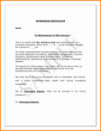Resume Responsibilities Sample Experience Certificate Format For