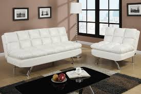 White Leather Living Room Chair Poundex F7015 White Twin Size Leather Sofa Bed Steal A Sofa