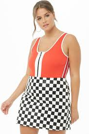 plus size faux leather checd mini skirt