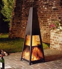 small portable fireplace for outdoor triangle shape