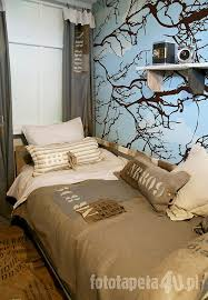 Amazing Children Bedroom In Military Style With Tree Wallpaper. By Fototapeta4u.pl