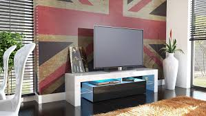 Tv Unit Stand Lima Carcass In White Front In Avola Anthracite