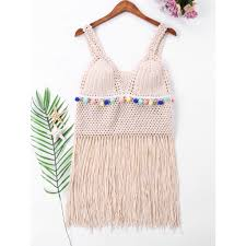 【Y1】 <b>Sleeveless Fringe Cover Up</b> Top | Shopee Philippines