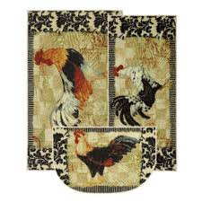 accent rug set with bergerac rooster motif home kitchen rugs french country roosters them chef cotton decor modern round natural fiber mohawk fl area