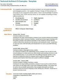 Resume Examples Architect Technical Architect Cv Example Cv Examples Resume