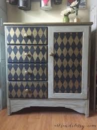 stenciling furniture ideas. diy harlequin dresser u0026 furniture makeover using classic diamond pattern stencils from royal stenciling ideas l