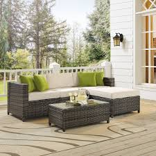 charlton home kaczor 5 piece rattan sectional set with cushions reviews wayfair