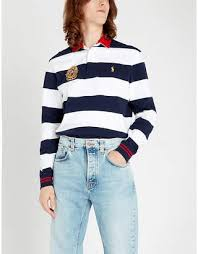 polo ralph lauren rugby striped cotton polo shirt