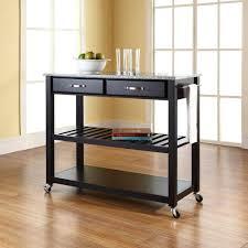 crosley black kitchen cart with granite top