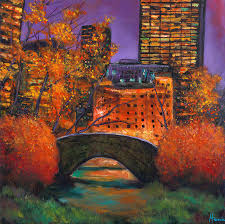 gapstow bridge central park painting new york city night autumn by johnathan harris