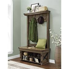 Entry Hall Bench Coat Rack Distressed Upholstered Storage Bench Entryway hall tree Bench 1