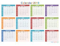 12 Month 2019 Calendar Printable On 1 Page Us Edition