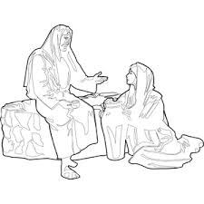 Small Picture Jesus with Woman at the Well Coloring Page