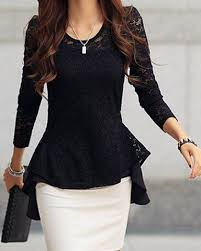 <b>Sexy Scoop Neck</b> Long Sleeve Lace <b>Ruffled</b> Blouse For Women