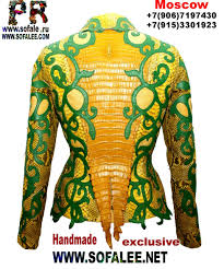 yellow green color leather jacket from genuine python crocodile hide