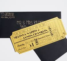 Old Hollywood Art Deco Gold Movie Ticket Invitation Sample