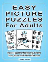Find something & win now with online games from shockwave! Easy Picture Puzzles For Adults Includes Spot The Odd One Out Find The Stars Mazes And Find The Differences By Joy Kinnest Paperback Barnes Noble