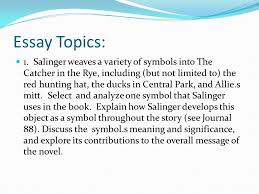 the catcher in the rye symbolism essay the catcher in the rye  essays on catcher in the ryethe catcher in the rye essay topics