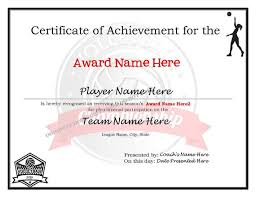 Editable Volleyball Certificates Digital Downloadable Printable Create Your Own Award Template