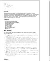 Resume Templates: Community Outreach Specialist