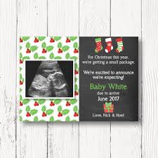 Christmas Pregnancy Announcement Card Pregnancy Reveal With Sonogram Christmas Baby 5x7 Chalkboard Card Customized Digital File