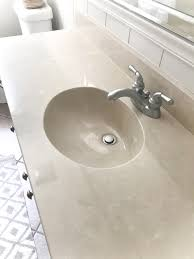 DIY Painted Bathroom Sink Countertop | blesserhouse.com - An 80s beige  cultured marble sink