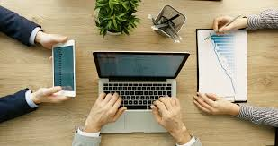 laptop office desk. Businessteam Working Together At Office Desk. Men Hands With Laptop And Tablet, Woman Desk P
