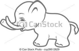 Baby Elephant Drawings Baby Elephant Outline Drawing Vector Illustration