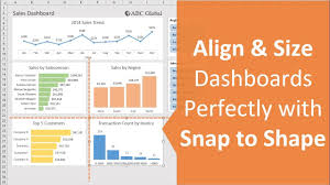 Align Charts In Excel Align Size Excel Dashboard Elements With Snap To Shape