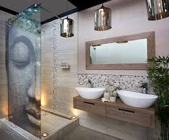 asian style master bathroom with pendant lights
