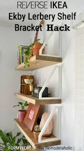 DIY Wall Shelf + Reverse IKEA Ekby Lerberg Bracket Hack (Remodelaholic)