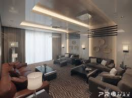 Interior Design Luxury Apartment Living Room Design With Leather Sofa And  Faux Zebra Rug