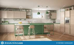 Modern White And Green Kitchen With Wooden Details And