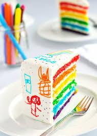 Artificial Colors Rainbow Doodle Birthday Cake By Sweetapolita
