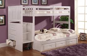 here we have a more bespoke white bunk bed with abundant built in storage