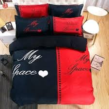 home textile red black bedding set duvet cover pillowcase white and her side queen bed sheets linen