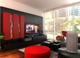 Modern Wall Units With Red Tone Has Chinese Style Fits With Black Wall Panel