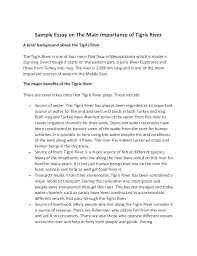 sample essay on the main importance of tigris river sample essay on the main importance of tigris river a brief background about the tigris river