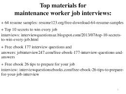 Resume For Maintenance Cool Maintenance Worker Resume Sample Pdf Ebook