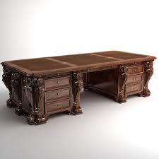 photorealistic antique wooden desk 2 3d model max 3ds fbx 3