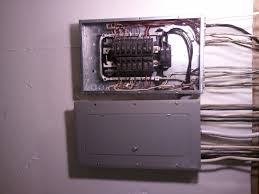 Circuit Breaker Cabinet Fileelectrical Panel And Subpanel With Cover Removed From