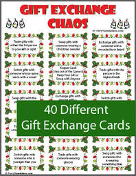 Gift Exchange game includes a variety of gift exchange cards and ...