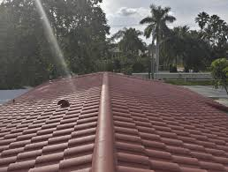 A concrete red colored tile roof