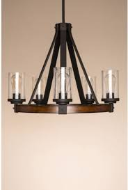 3 of 4 kichler lighting barrington distressed black wood rustic glass candle chandelier