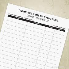 volunteer sign up sheet templates committee sign up printable form volunteer signup sheet event planner list contact info editable digital file instant download vsu002